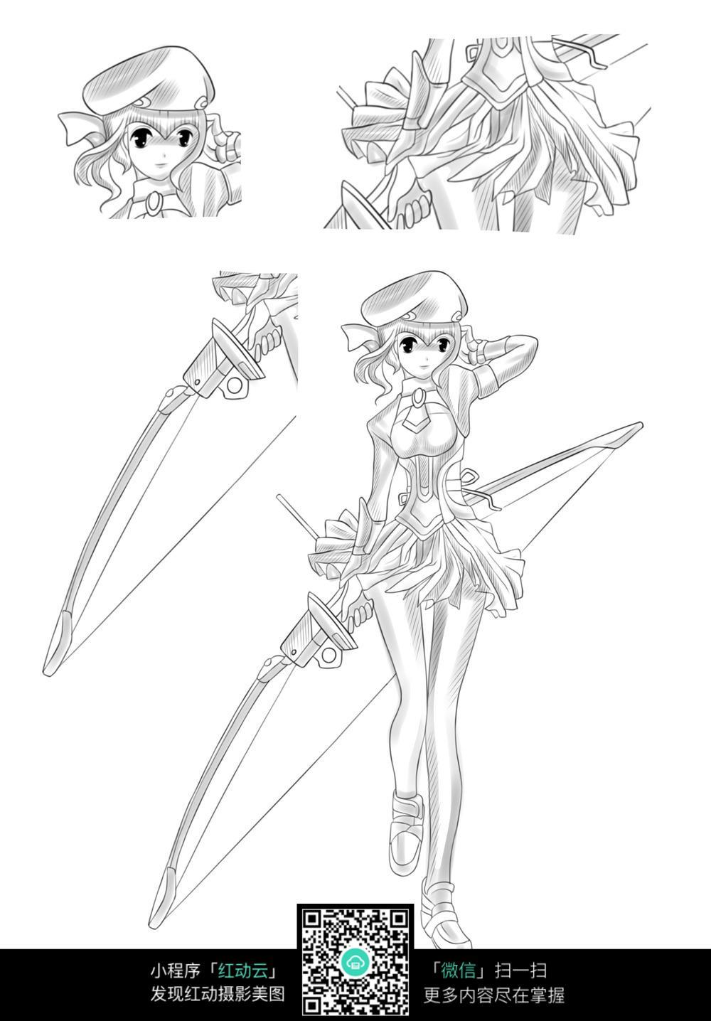 免费素材 图片素材 漫画插画 人物卡通 拿着弓箭的美少女