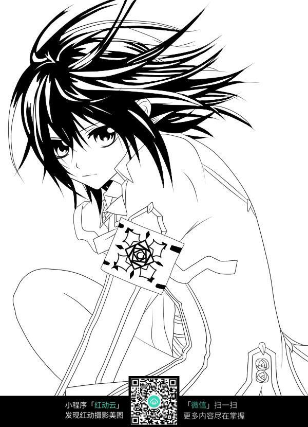 日本动漫人物 卡通动漫人物  人物绘画   插图  钢笔画 黑白画  漫画