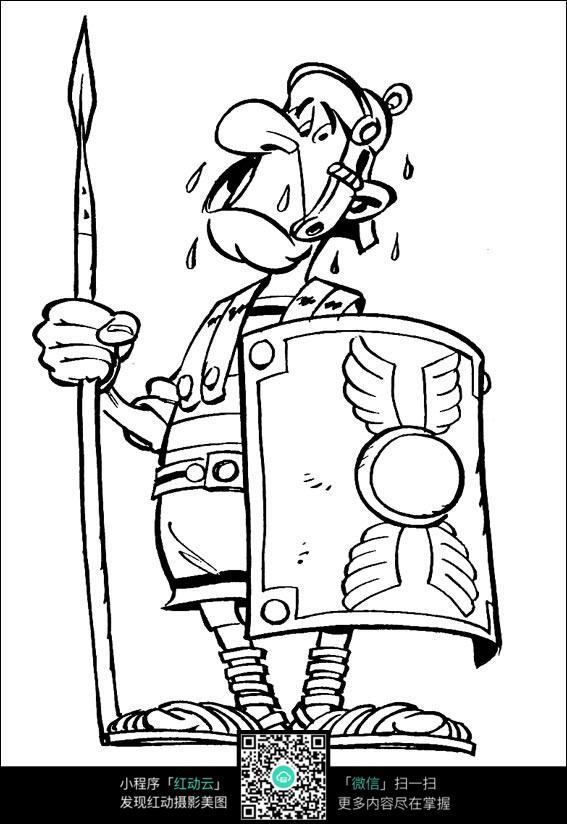 拿着武器的士兵卡通手绘线稿