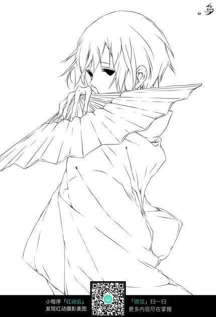 拿着折扇的日本女孩_人物卡通图片