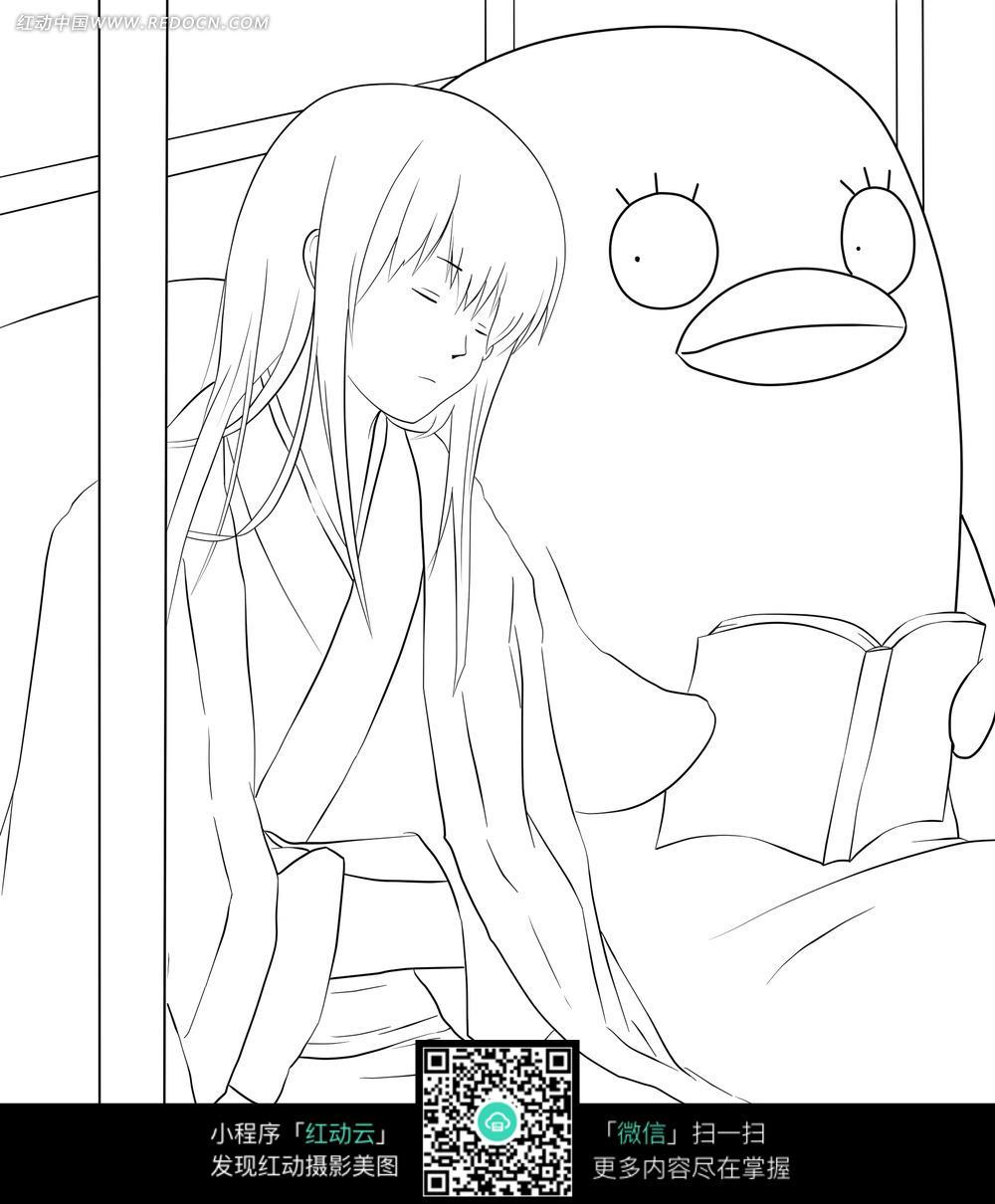 女孩和动物卡通手绘线稿