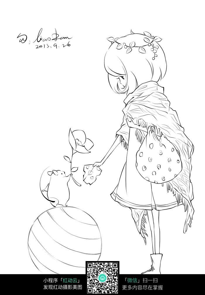 女孩和动物卡通手绘线稿图片