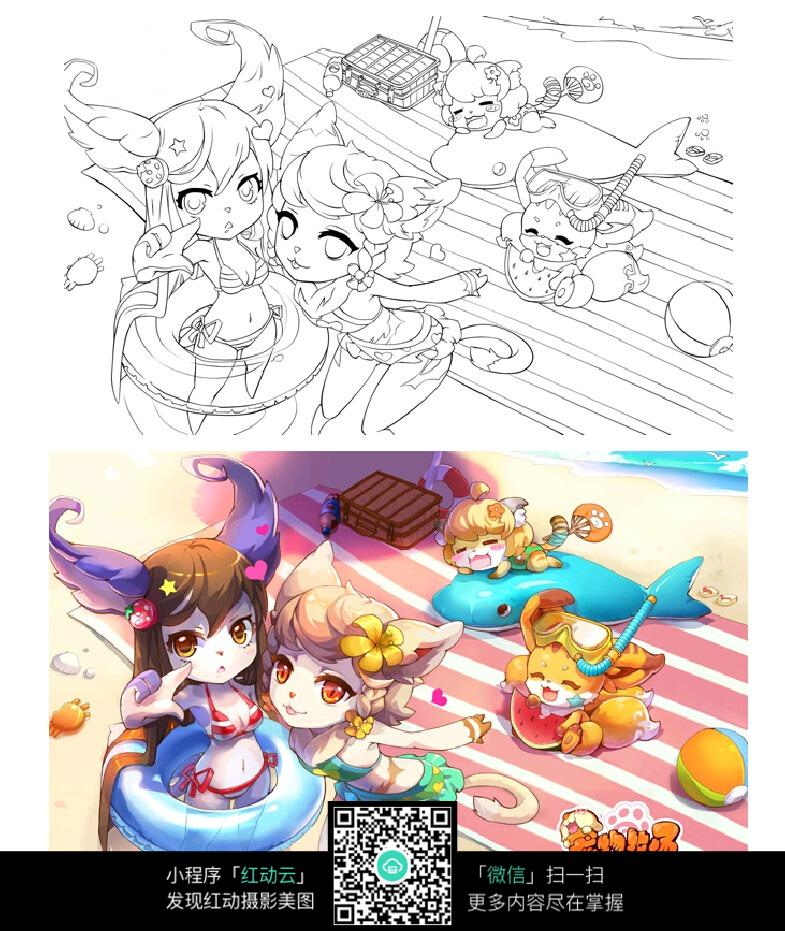 免费素材 图片素材 漫画插画 人物卡通 女孩和动物卡通手绘线稿  请