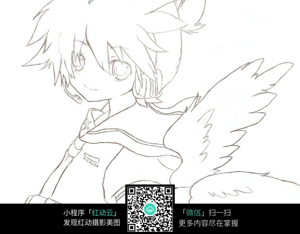 女孩 鸽子 卡通 手绘线稿 卡通人物 手绘 线稿 漫画  卡通素材  插画