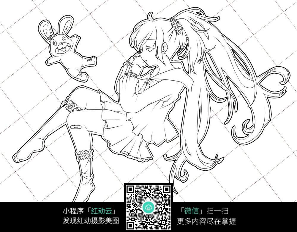 女孩和兔子卡通手绘线稿图片