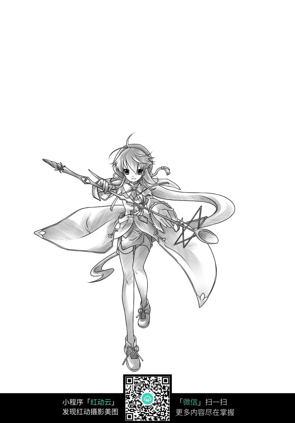 女孩和武器卡通手绘线稿
