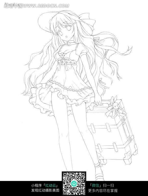 女孩和行李箱卡通手绘线稿图片