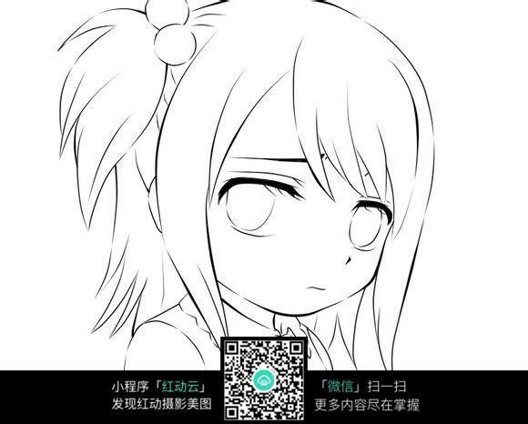 女孩卡通手绘线稿图片