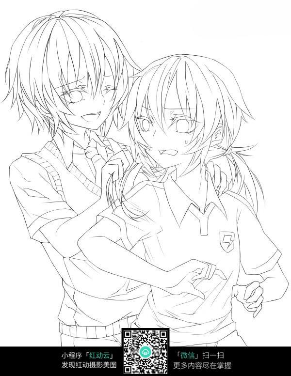 女孩与男孩卡通手绘线稿