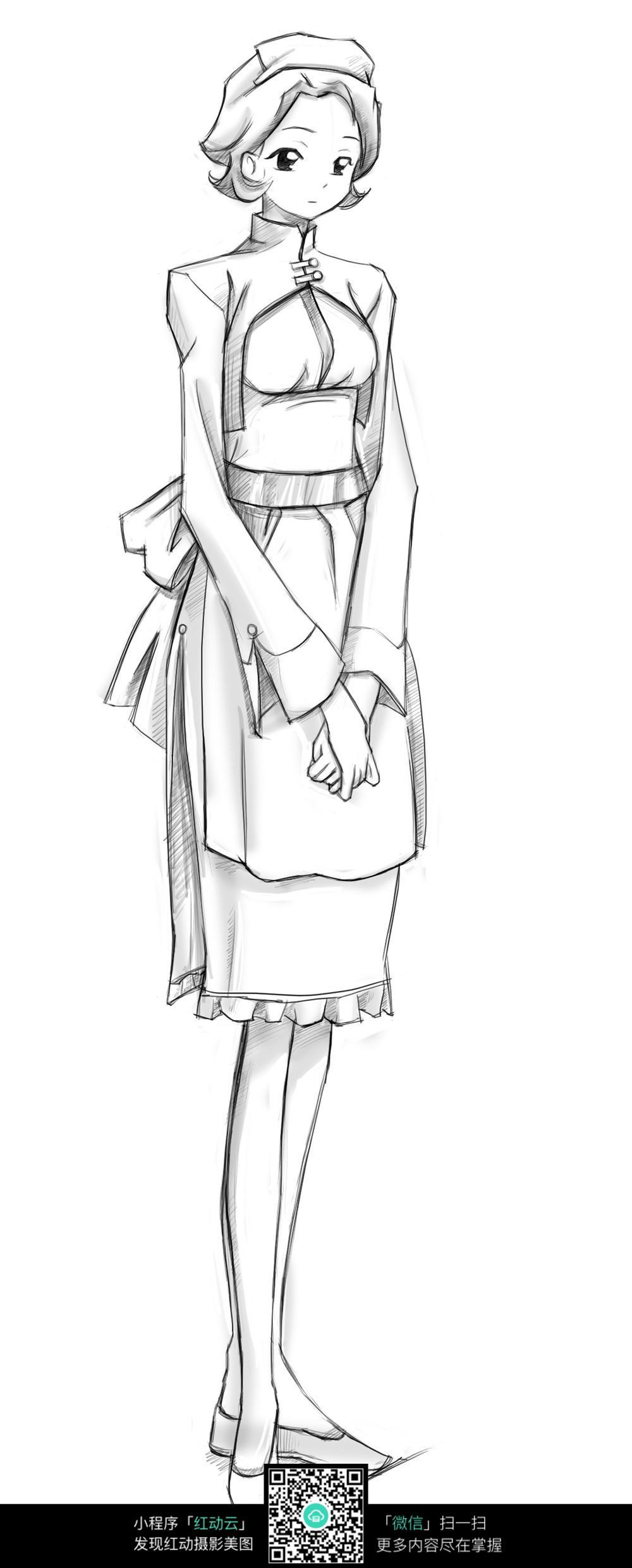 女仆 卡通 手绘线稿 卡通人物 漫画  卡通素材  插画 人物素材 漫画