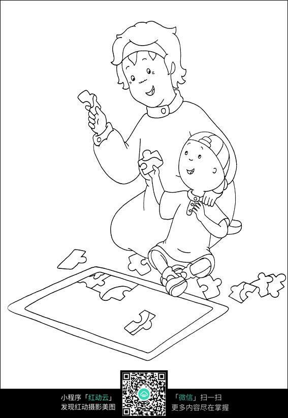 女人和小孩卡通手绘线稿