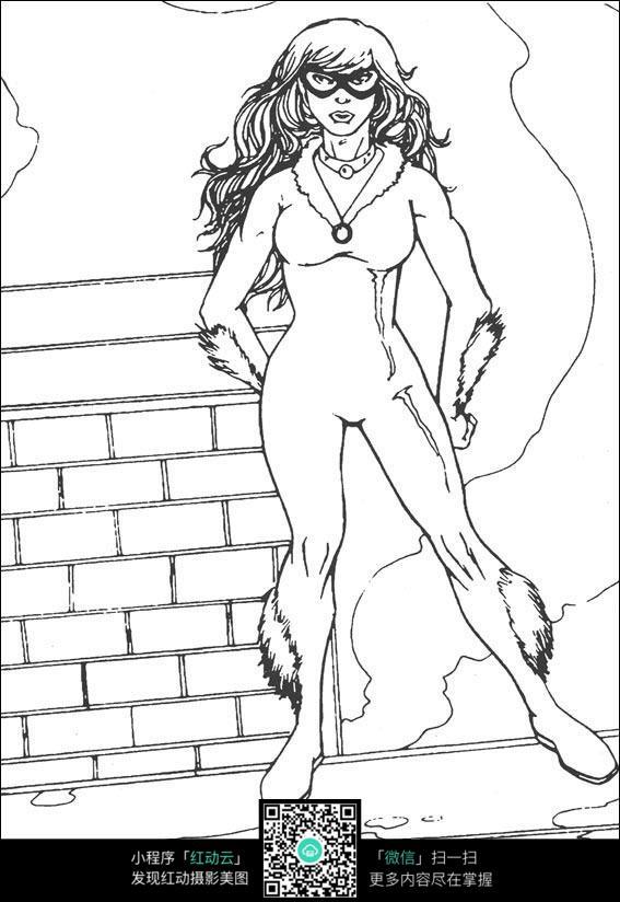 女兽人手绘漫画形象线稿