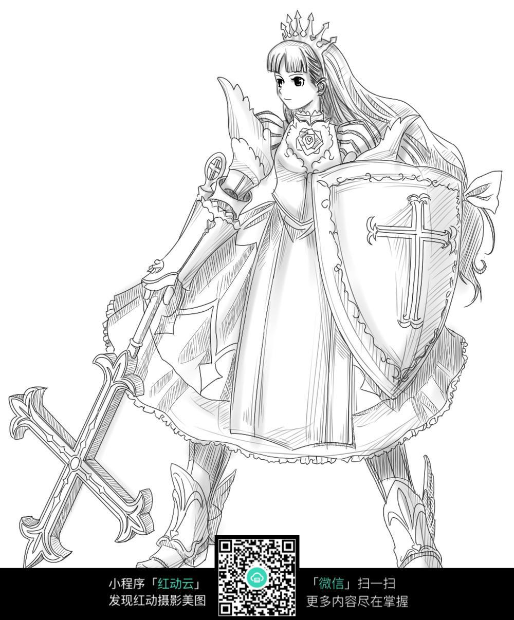 女子 盾牌 卡通 手绘线稿 卡通人物 手绘 线稿 漫画  卡通素材  插画