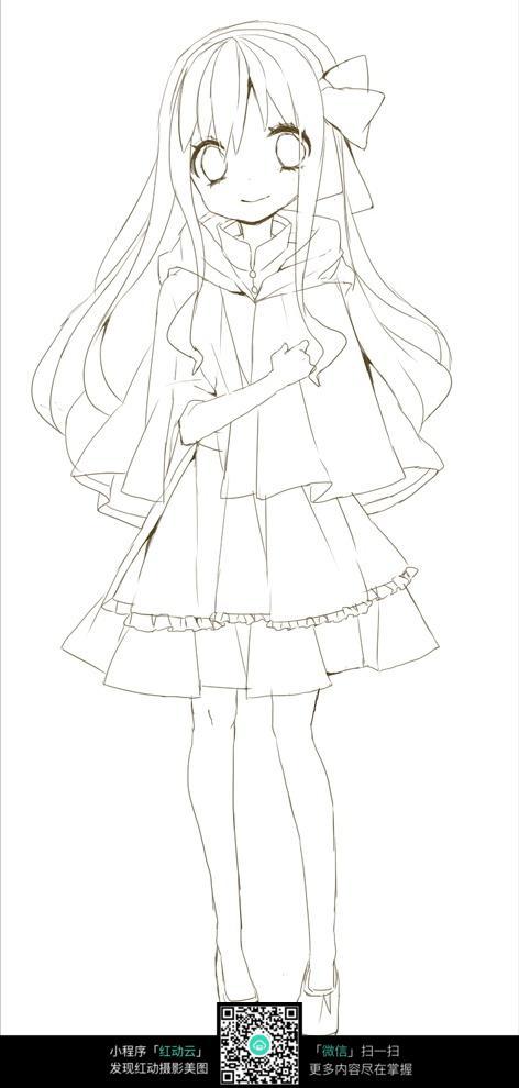 漂亮女孩卡通手绘线稿