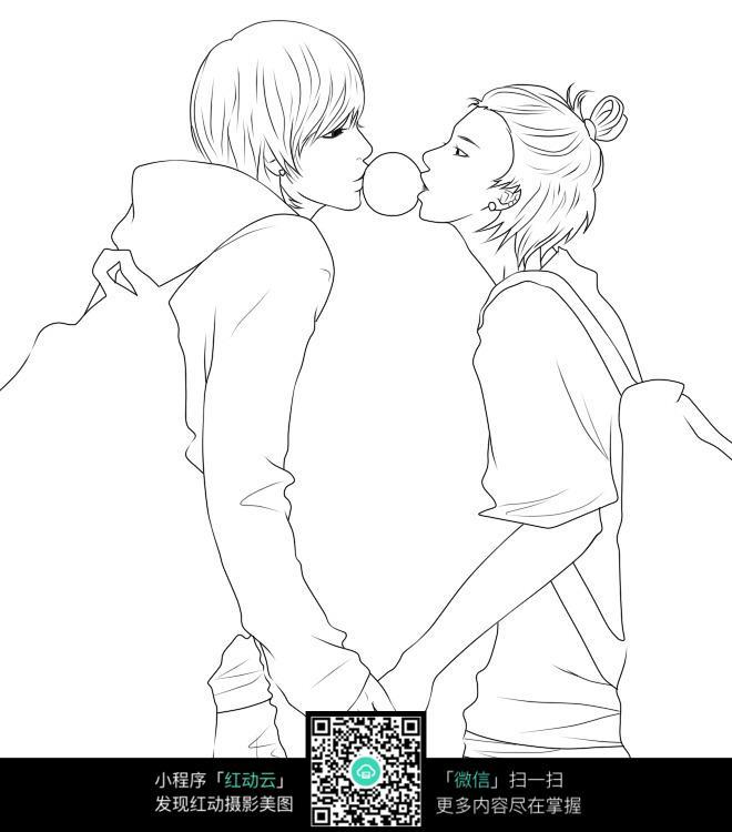 牵手的情侣卡通手绘线稿