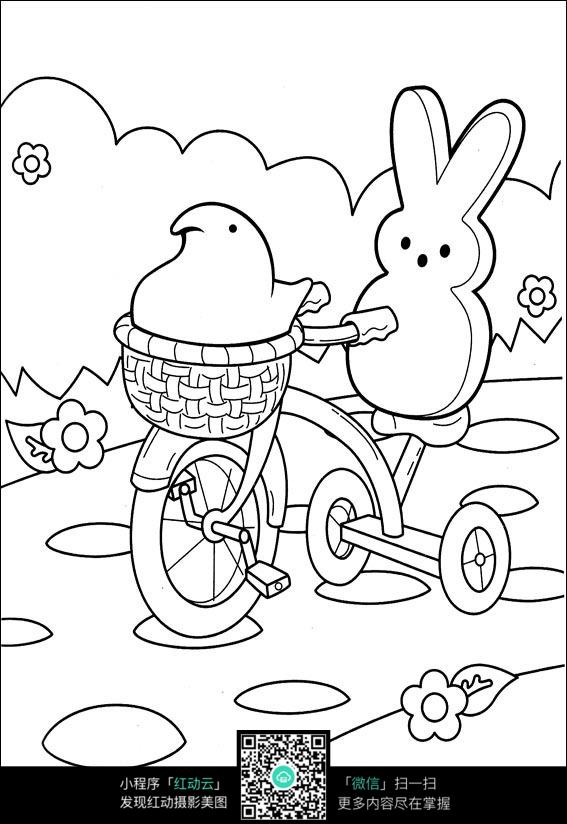 四岁儿童骑车简笔画