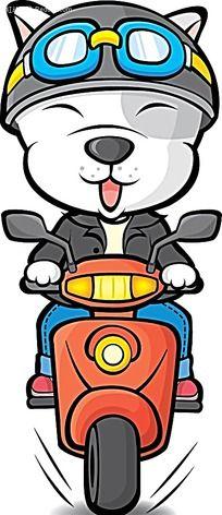 骑摩托车的少女卡通手绘