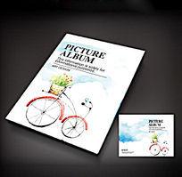 清新自行车画册封面设计