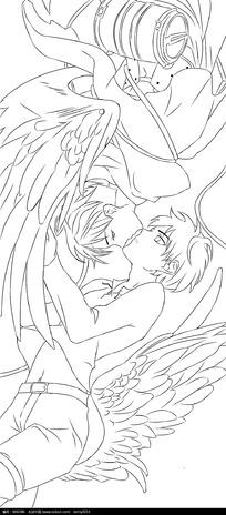 接吻的情侣卡通手绘线稿图片
