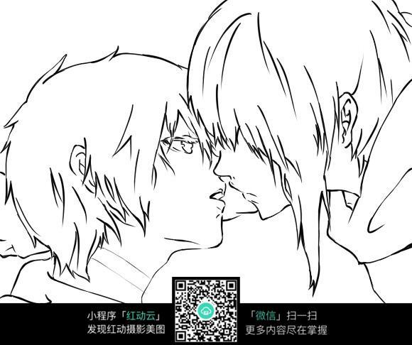 亲吻的情侣卡通手绘线稿_人物卡通图片