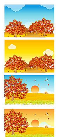 秋季乡间麦田大树手绘背景画