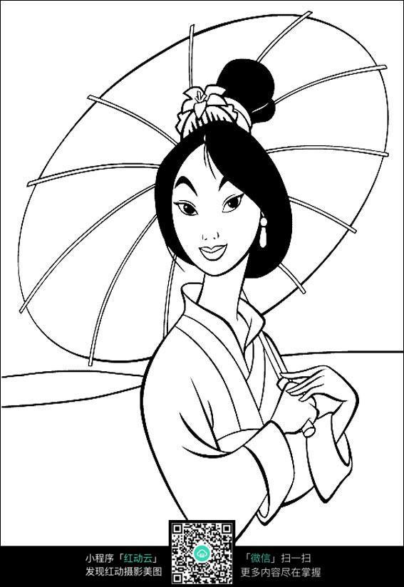 日本女性卡通人物手绘线稿