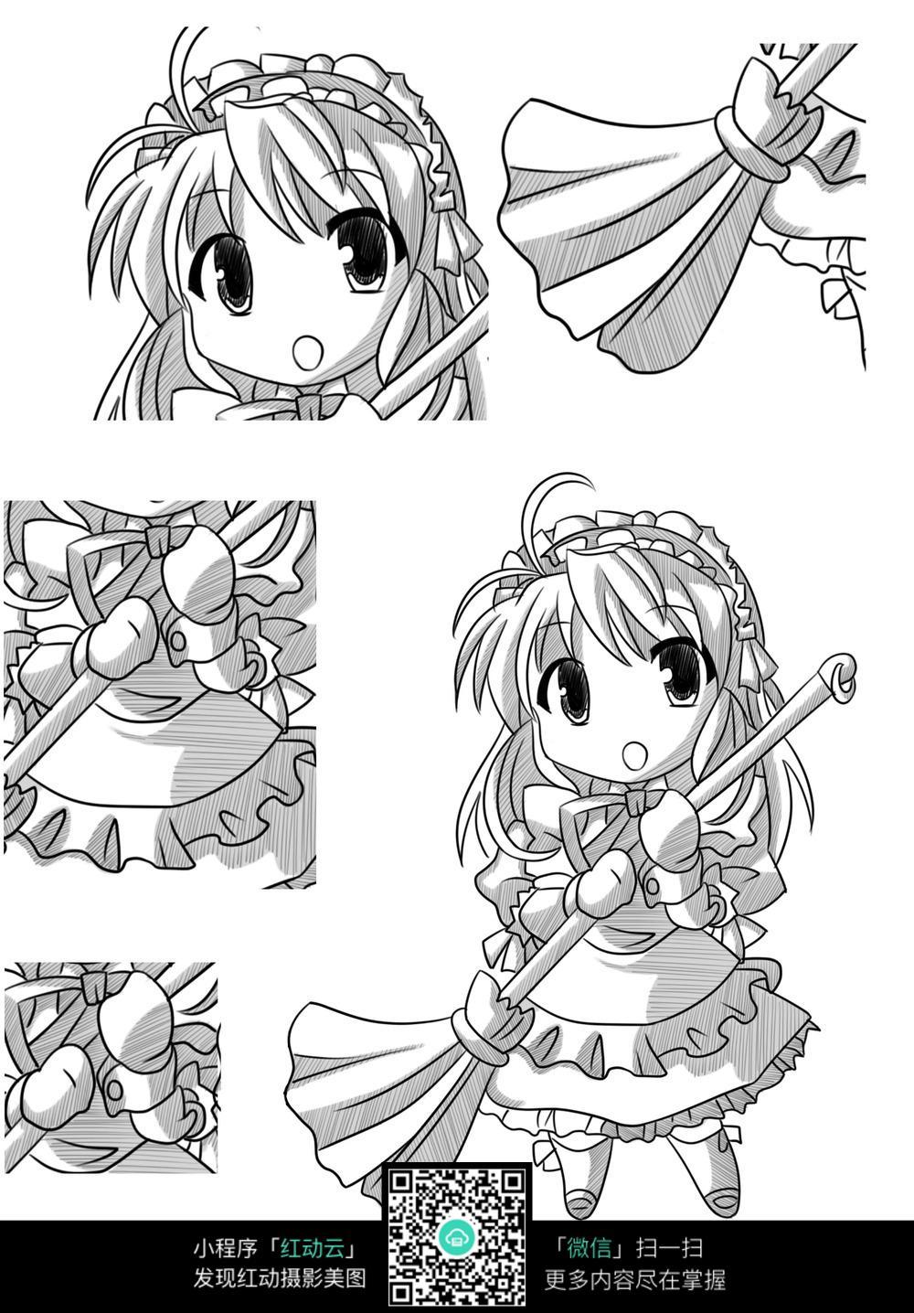 扫把和女孩卡通手绘线稿