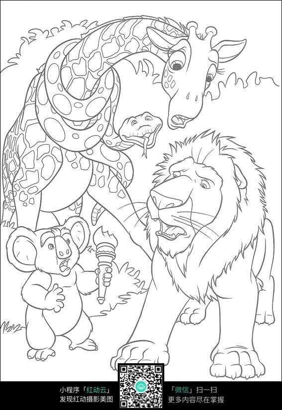 免费素材 图片素材 漫画插画 人物卡通 森林里的动物线描  请您分享