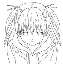 伤心的女孩卡通手绘线稿