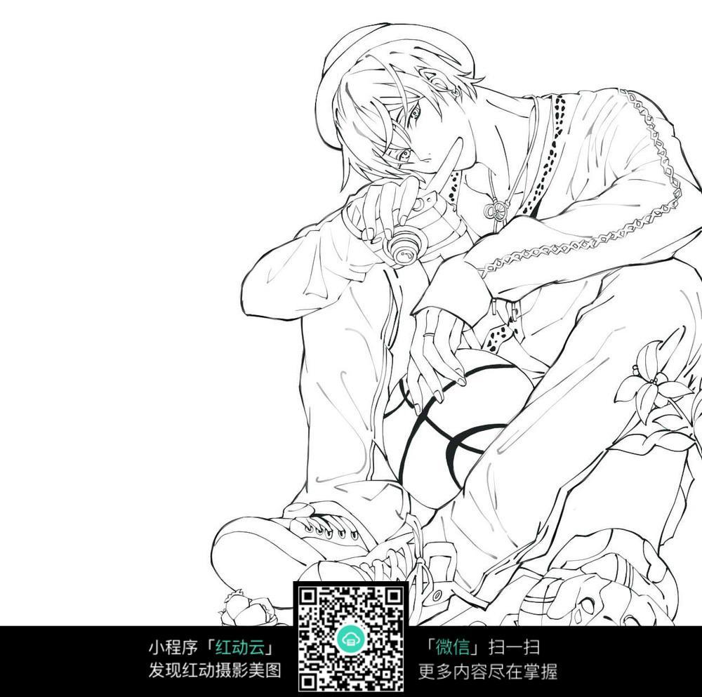 少年和篮球卡通手绘线稿