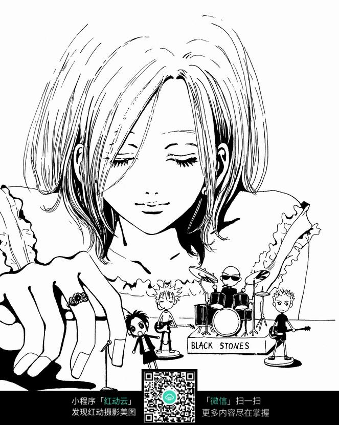 免费素材 图片素材 漫画插画 人物卡通 少女和小孩卡通手绘线稿  请您
