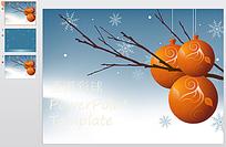 圣诞球雪花背景圣诞节ppt模版