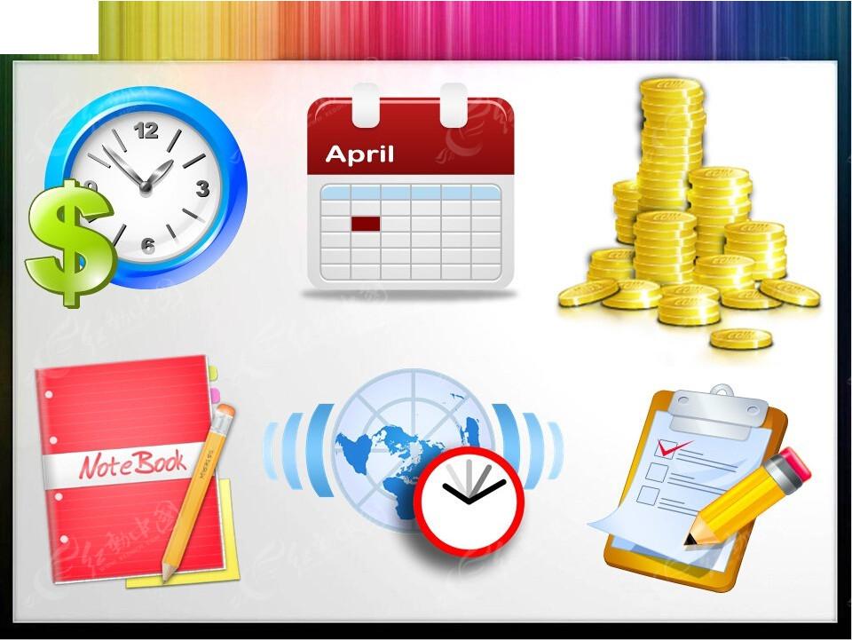时间金钱图标ppt素材下载免费下载_红动网图片