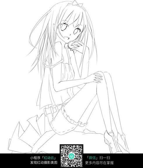 免费素材 图片素材 漫画插画 人物卡通 时尚女孩卡通手绘线稿  请您