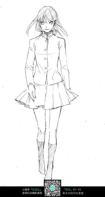 时尚少女 卡通手绘线稿_人物卡通图片