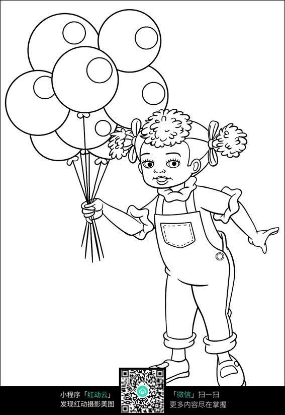 手拿着气球的小女孩图片