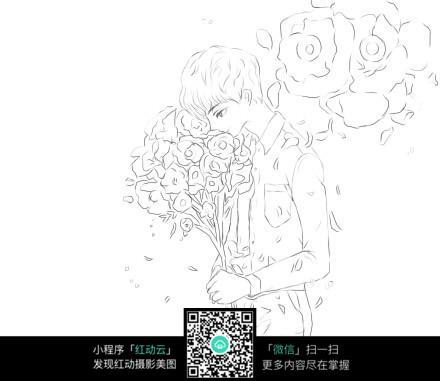 手捧鲜花的男孩_人物卡通图片