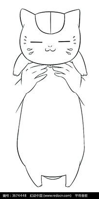 双手和猫卡通手绘线稿