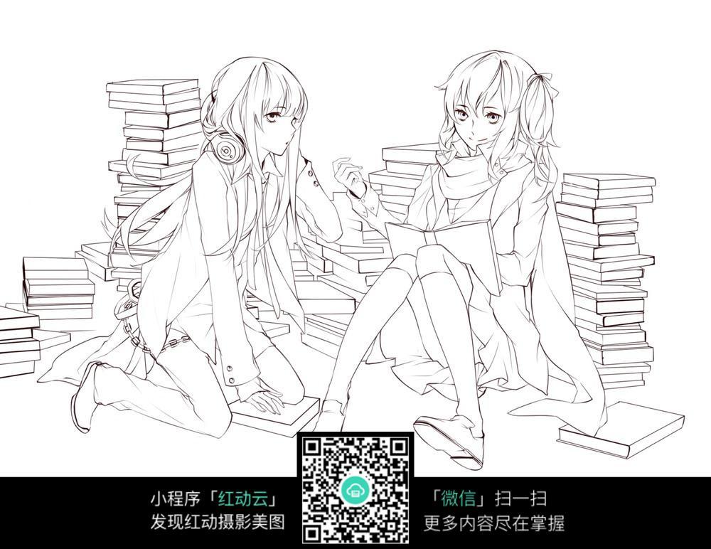书本和女孩卡通手绘线稿_人物卡通图片