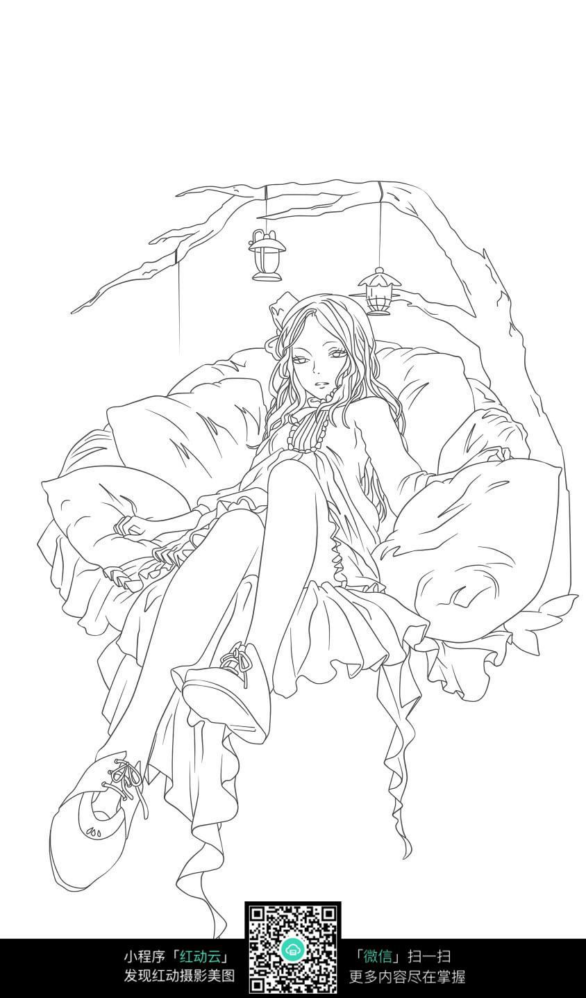 树和女孩卡通手绘线稿