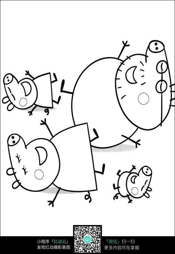 睡觉的动物卡通手绘线稿