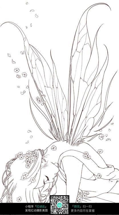 睡觉的女孩卡通手绘线稿