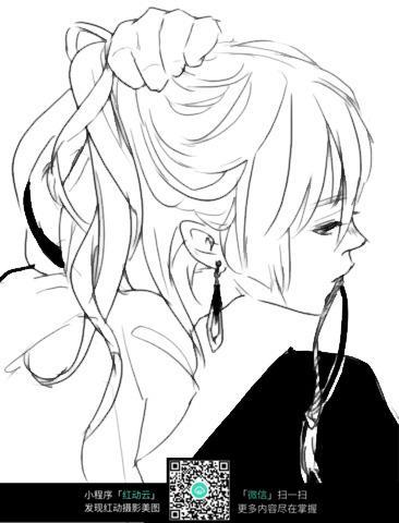 梳头发的女孩卡通手绘线稿