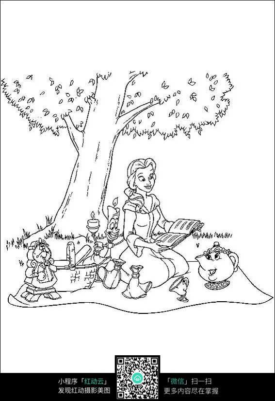 树下的少女卡通手绘线稿