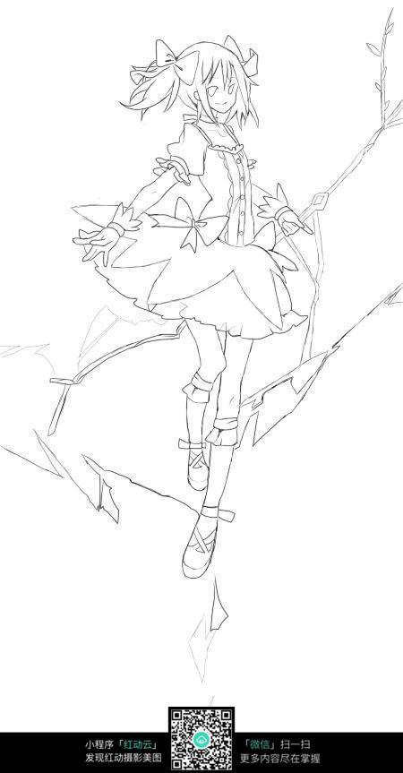 树枝和女孩卡通手绘线稿