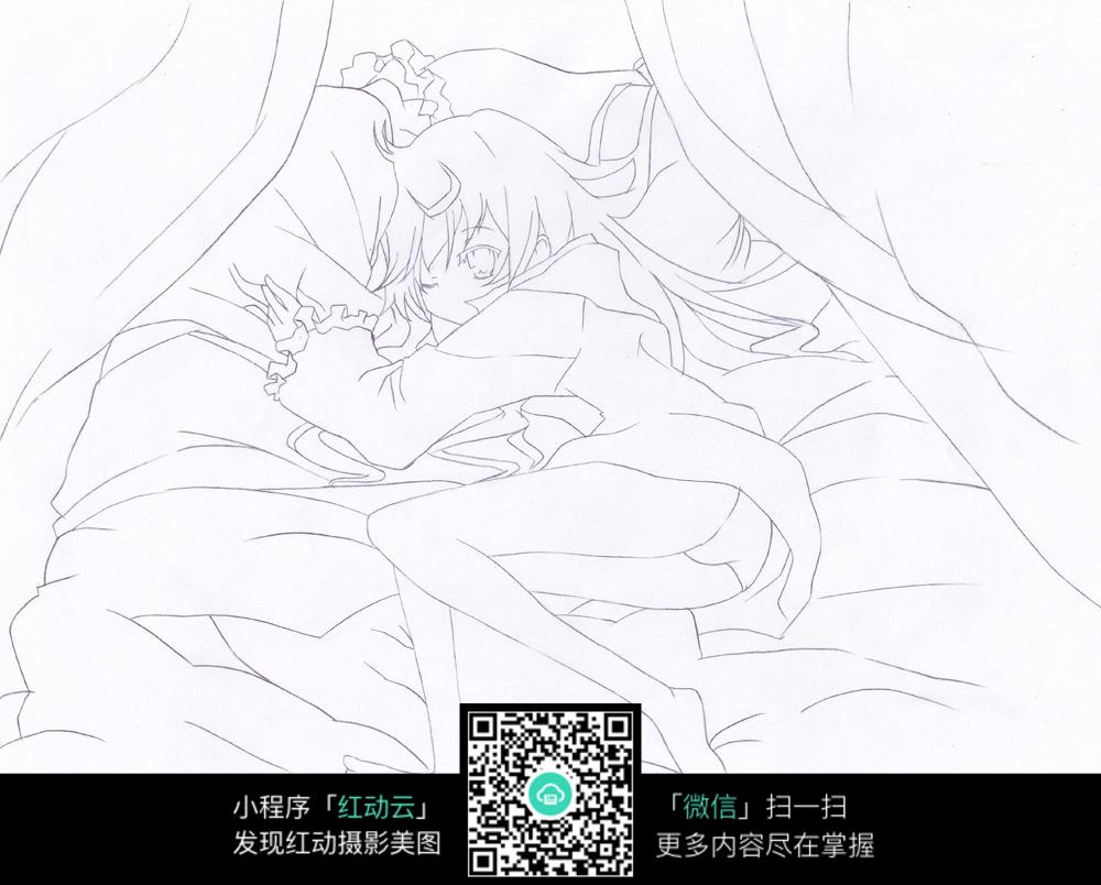躺在床上睡觉的女孩线描图片免费下载 编号3730662 红动网