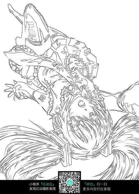 躺着的女孩卡通手绘线稿图片