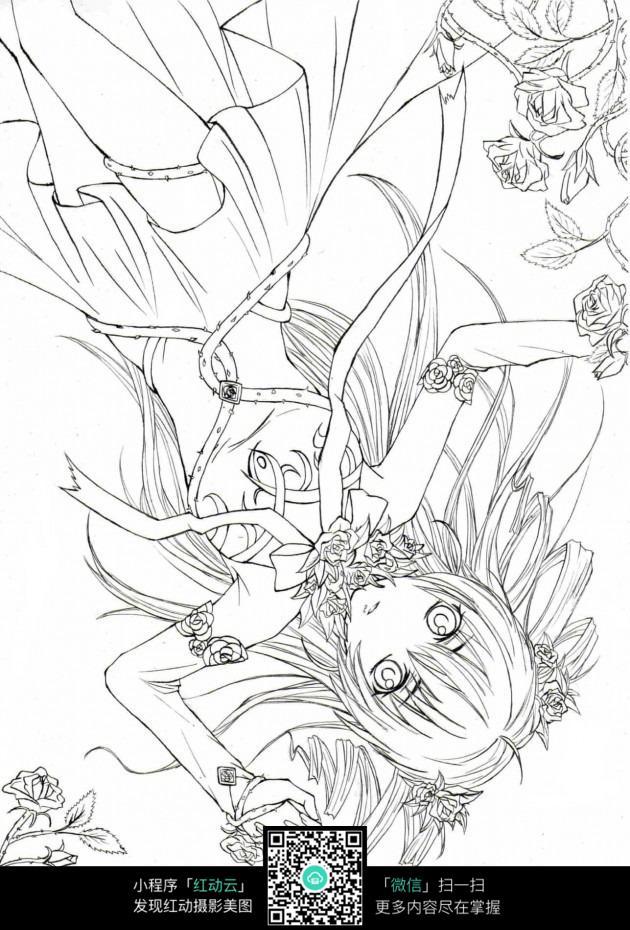 免费素材 图片素材 漫画插画 人物卡通 躺着的女孩卡通手绘线稿  请您