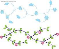 藤条小花手绘边图形