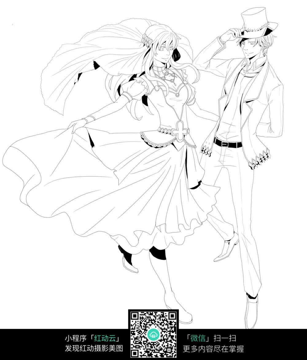 钢笔画  漫画手绘 素材 速写 涂鸦 写生 上色练习 跳舞的男孩女孩
